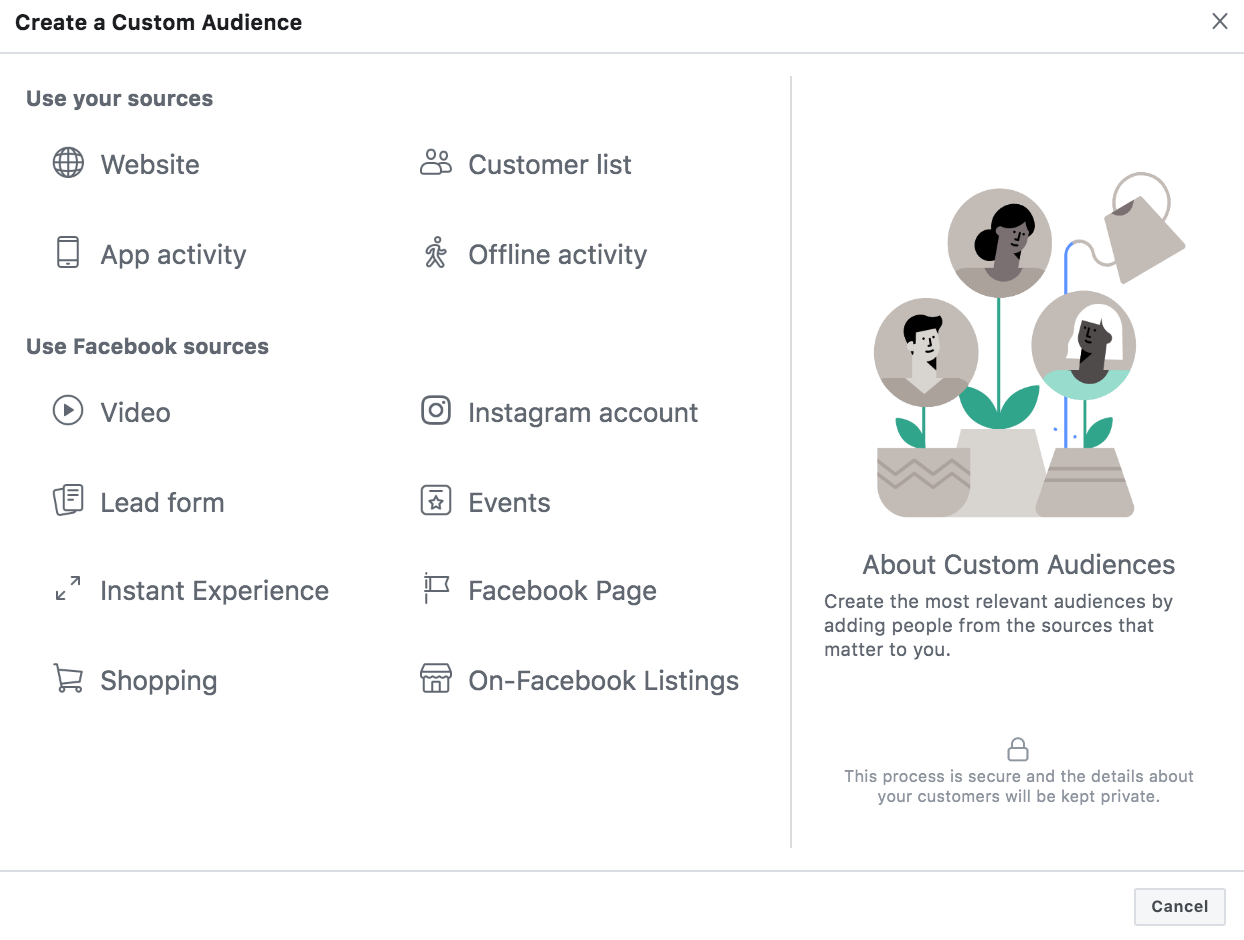 Creating a Custom Audience in Facebook Ads Manager