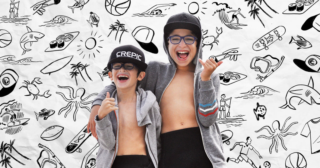 Portrait of Ethan and Merritt Perlyn, the young founders of Crepic. Surrounding them are illustrations that reflect their business, hobbies and dreams.