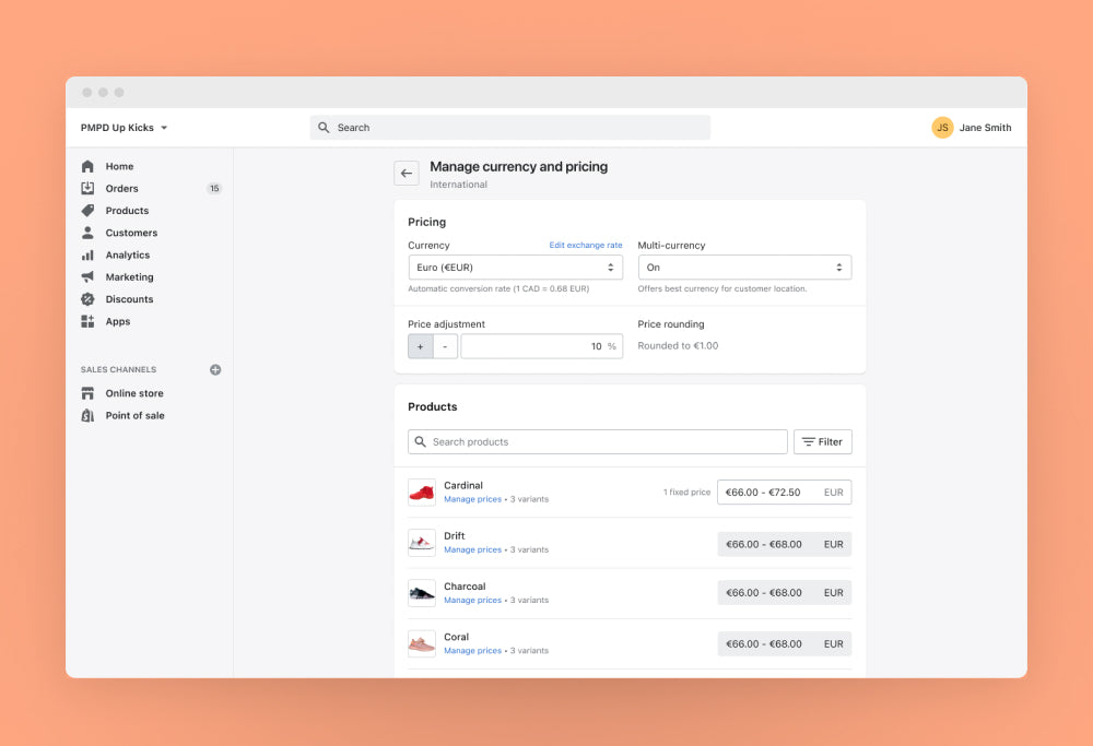 Manage international currencies and pricing easily with Shopify Markets