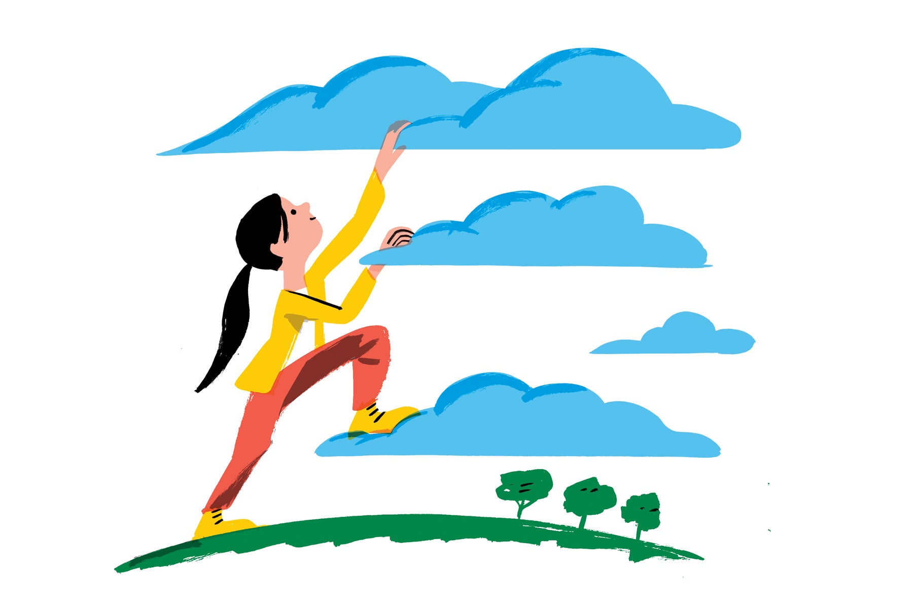 Illustration of a young girl with brown hair and a yellow shirt on with clouds above her. The clouds are staggered and she is climbing them like steps. This is a metaphor for realizing her dreams and future goals.