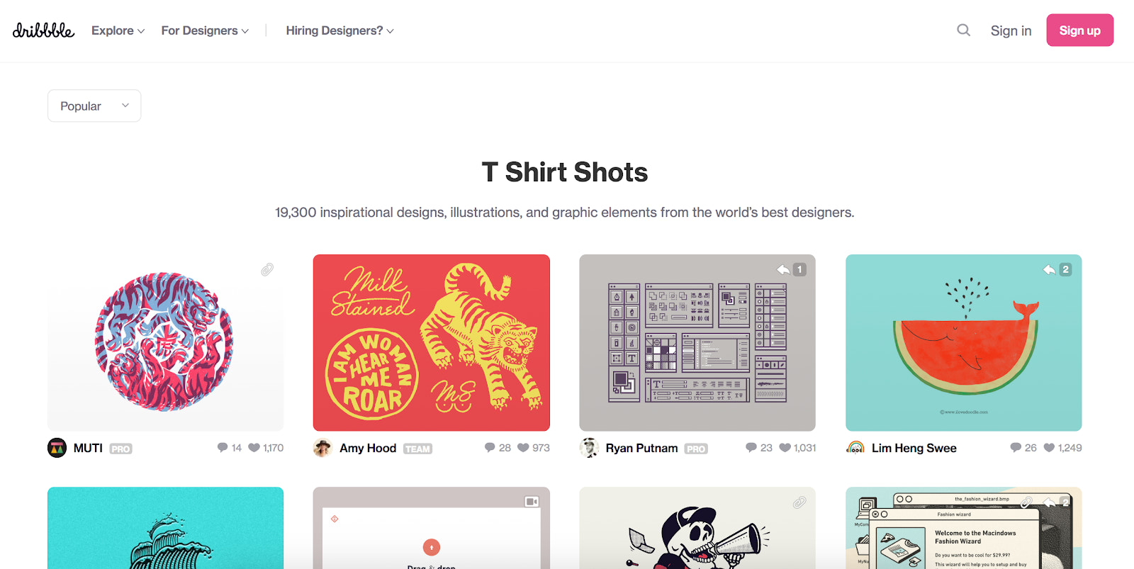 Dribbble screenshot of t-shirt search query