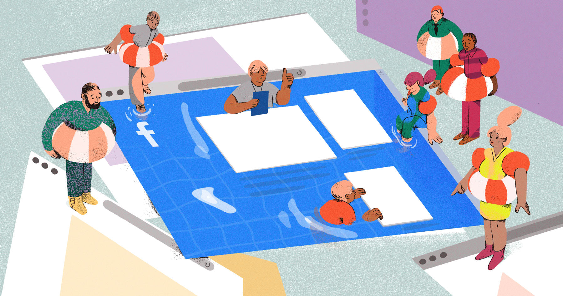 Illustration of a pool in the shape of a Facebook homescreen. We see a swimming instructor in the pool and beginner-swimmers around the pool with life preservers on, as a metaphor for those being given a step by step guide to facebook ads.