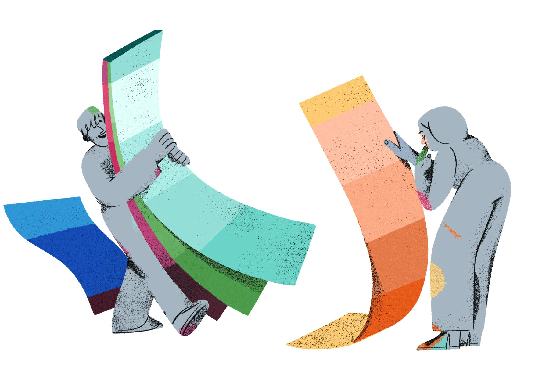 Illustration of two characters playing with oversized paint swatches to reflect the idea of choosing the right colour for your logo.