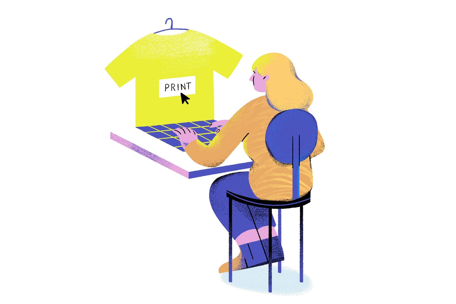 Illustration of a young woman working on her laptop but the screen is a t shirt that she has made a custom graphic for to reference print on demand businesses.