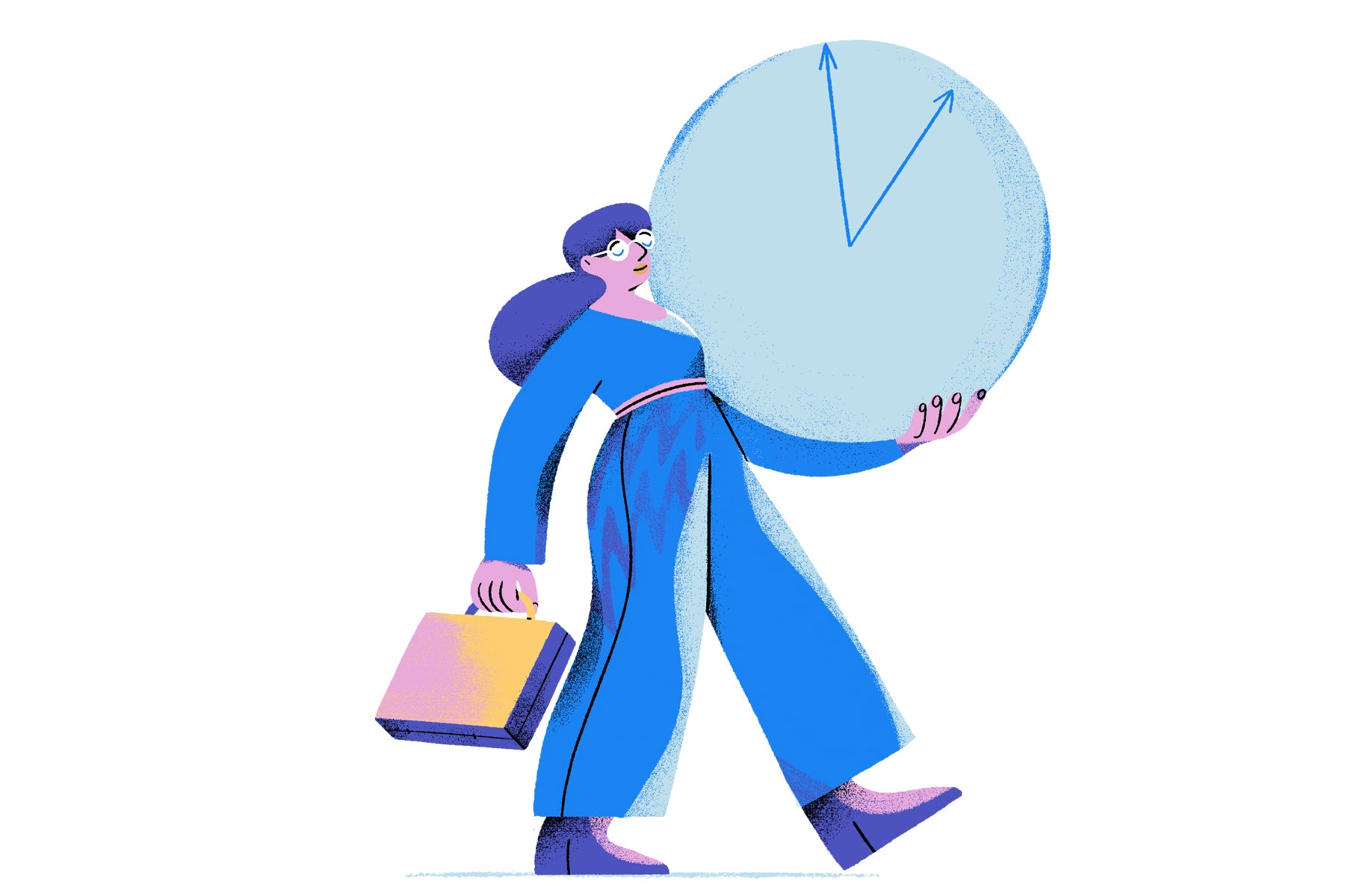 Illustration of a young woman carrying a clock and a briefcase to represent monetizing her time.