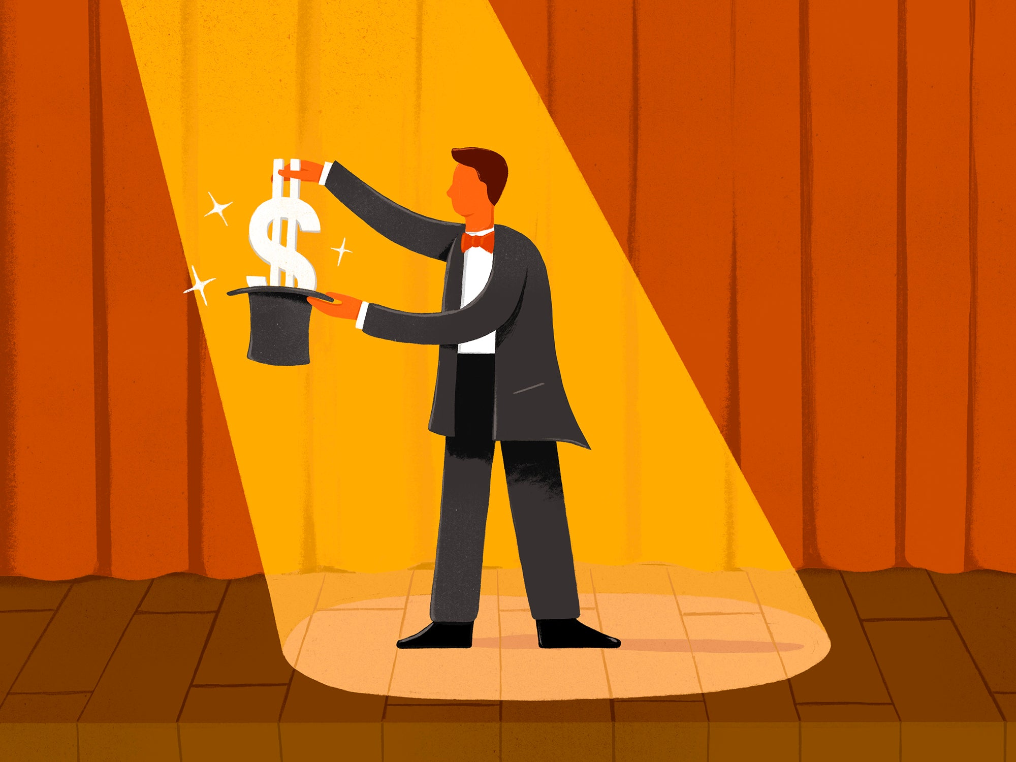 Illustration of a kid pulling a large dollar sign out of a hat on stage, representing a kid-run magician business