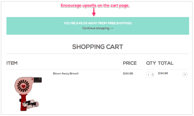 Screenshot of shopping cart offering free shipping