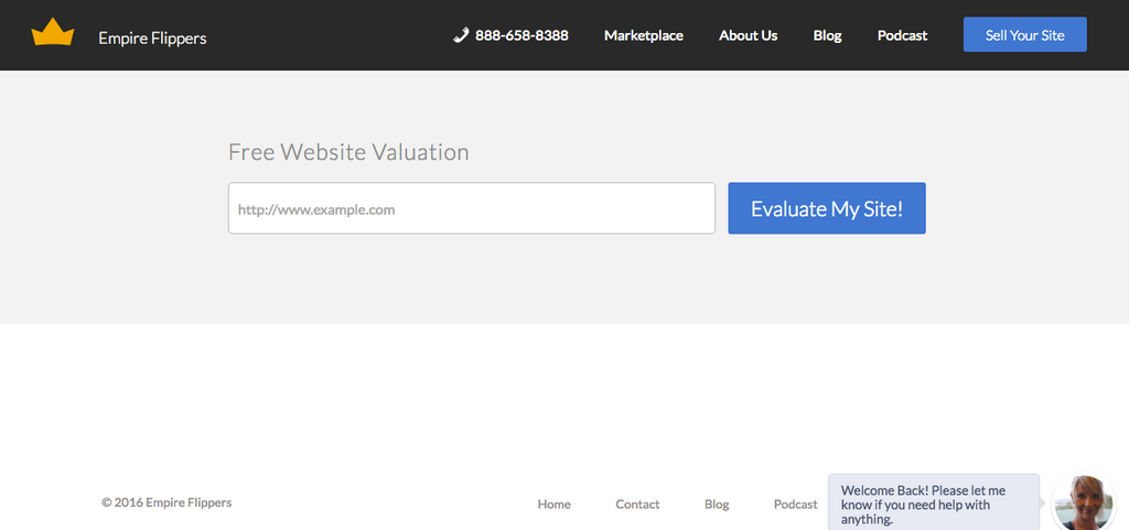 Screenshot of Empire Flippers website vetting tool