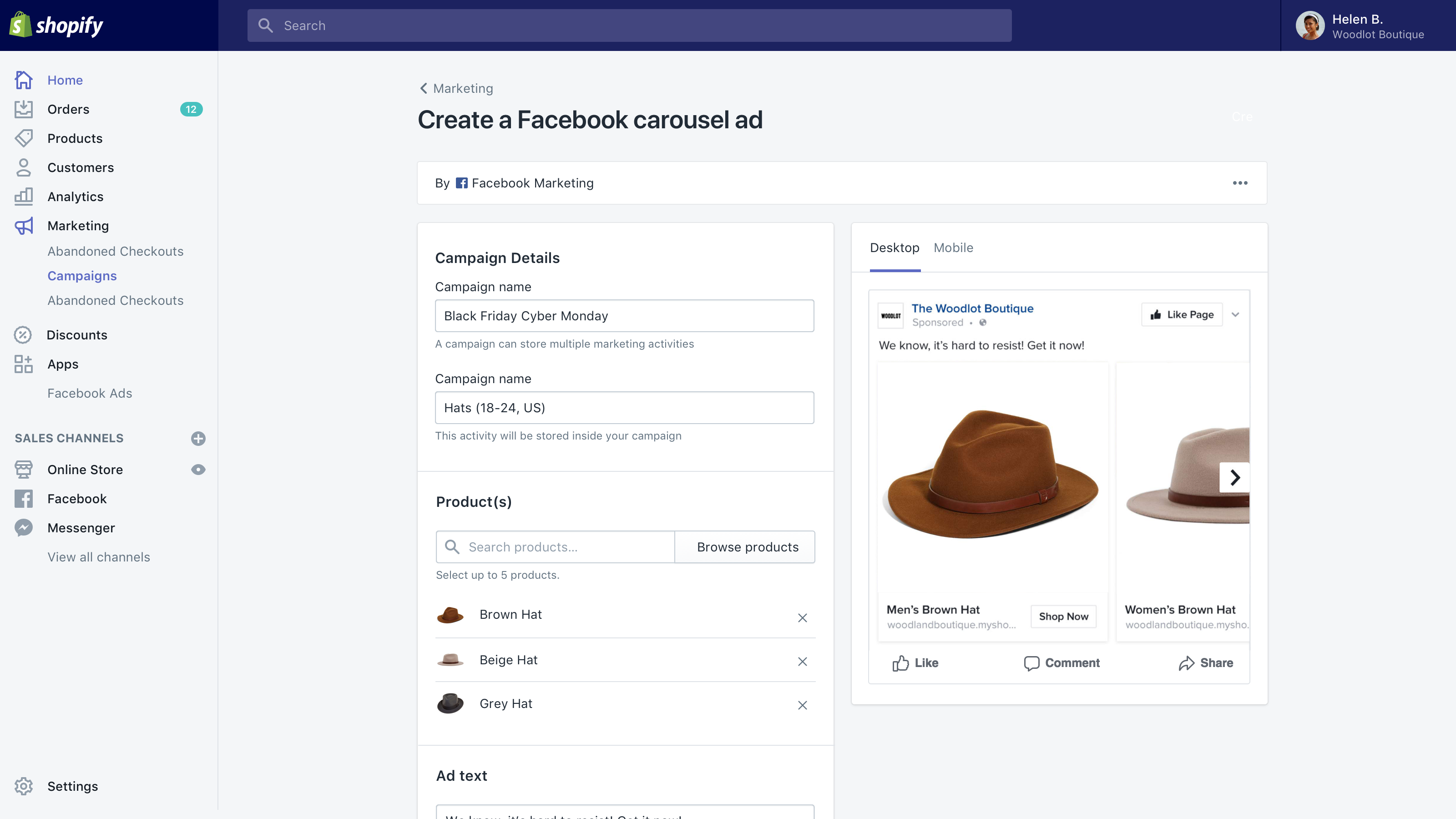Set up Facebook carousel ads directly in Shopify