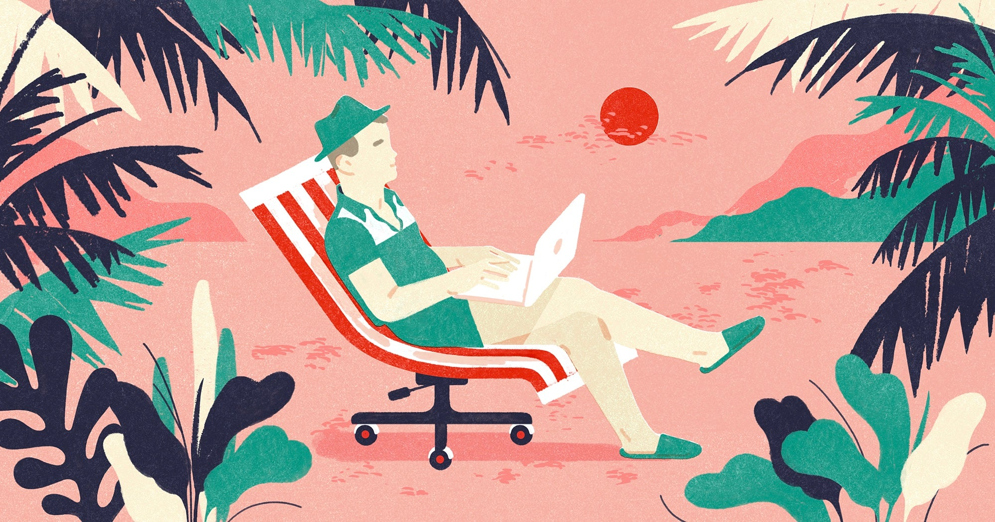 Illustration of a person lounging on an office chair in a beach setting