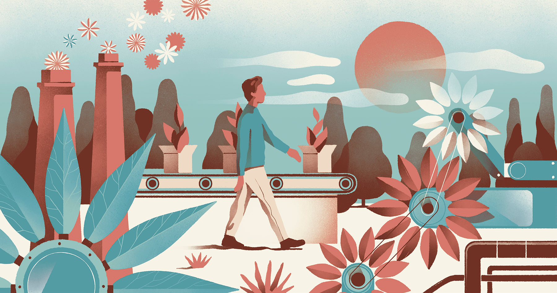 illustration of a young man walking through a scene that reflects sustainable living. plants surround him and sustainable products are on a conveyor belt around him.