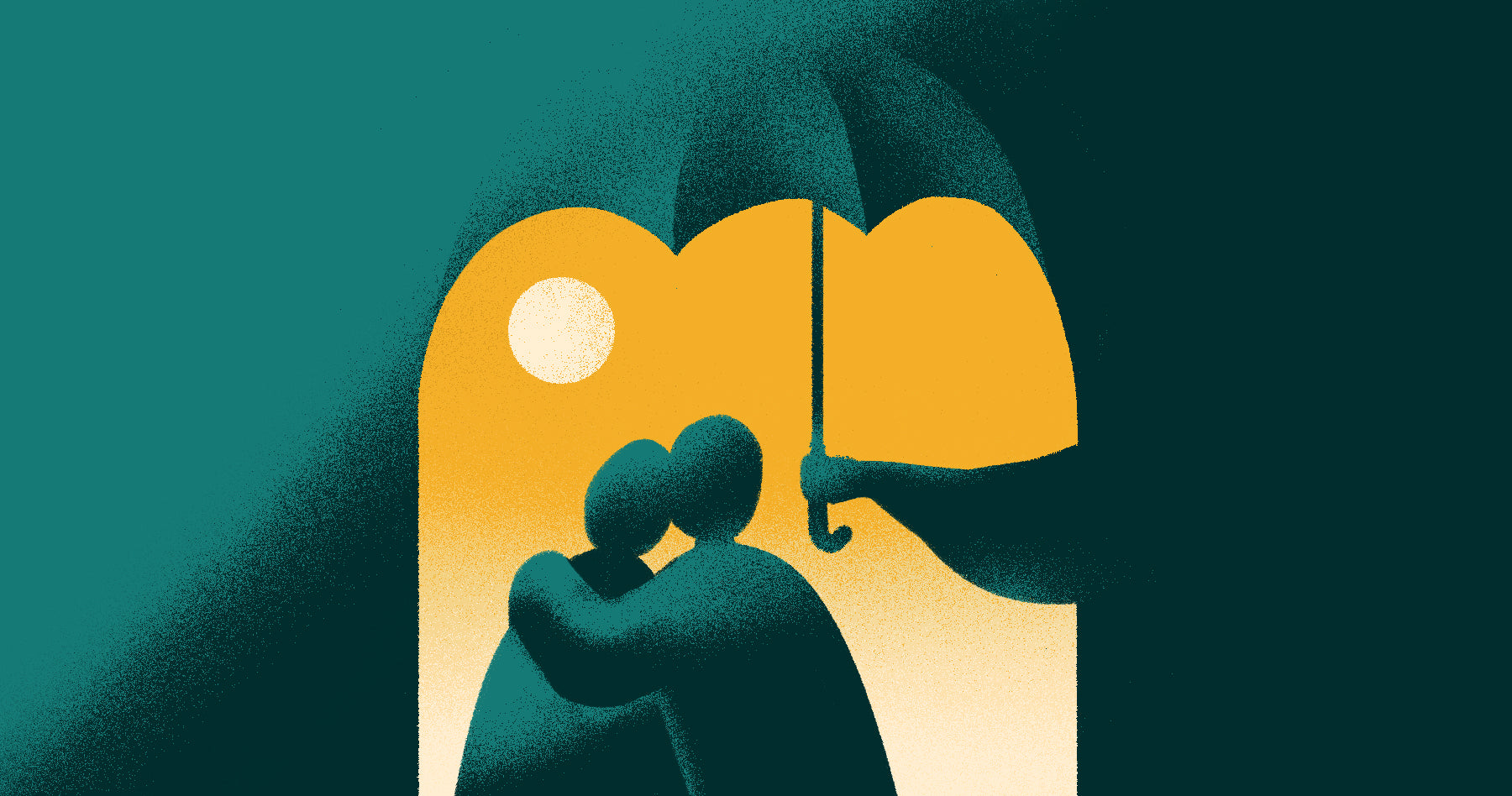 illustration of person holding umbrella over couple to represent government relief programs
