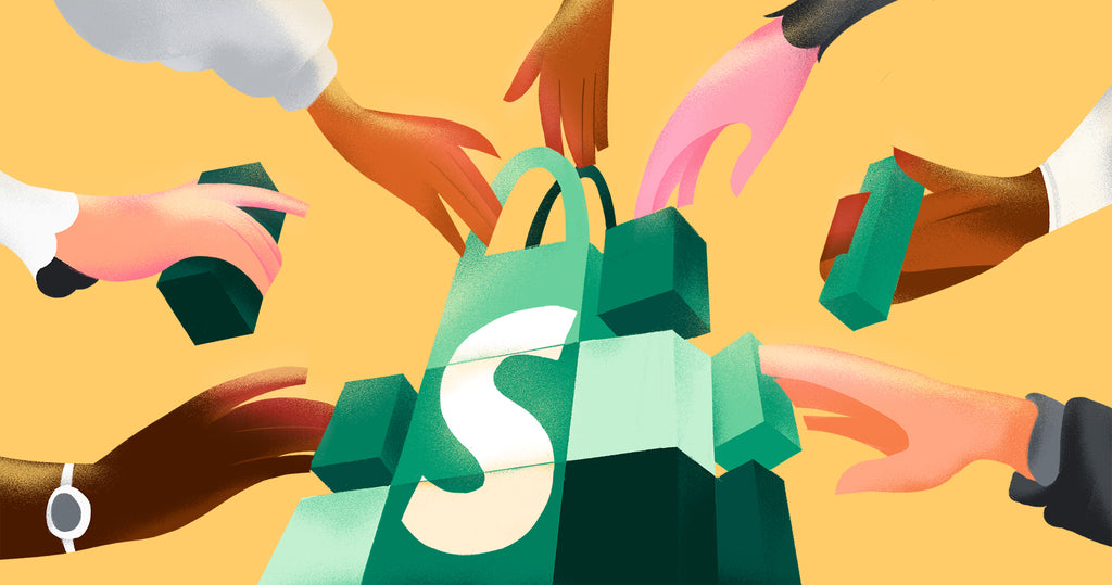 An illustration of seven hands adding and holding various pieces of the puzzle that stack up to be the Shopify logo.