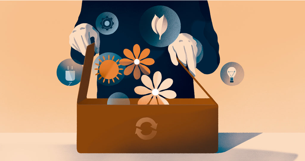 Illustration of a person opening a recycled box and symbols of nature are floating out