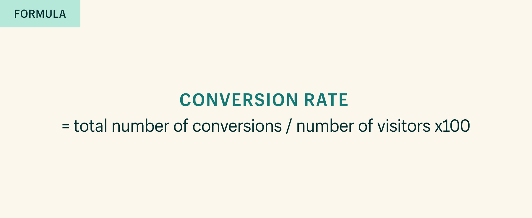 Conversion rate = total number of conversions / number of visitors) x 100