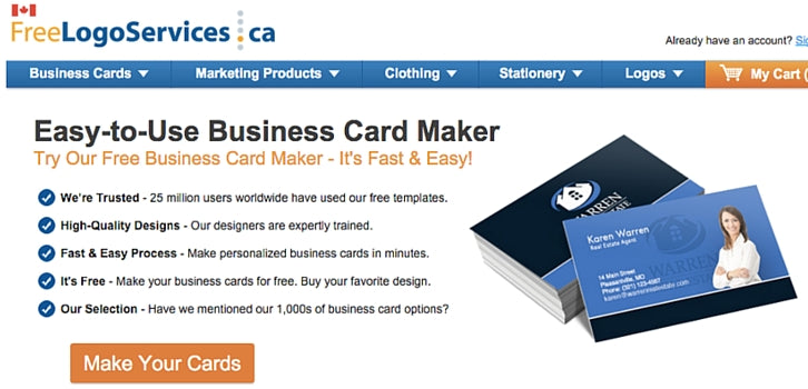 10 free business card makers with customizable templates 7 freelogoservices freelogoservices screenshot freelogoservices offers a variety of business card templates wajeb