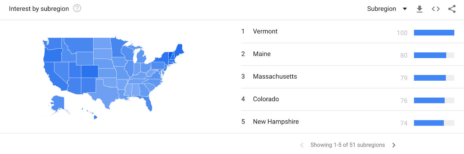 Geographic data in Google Trends