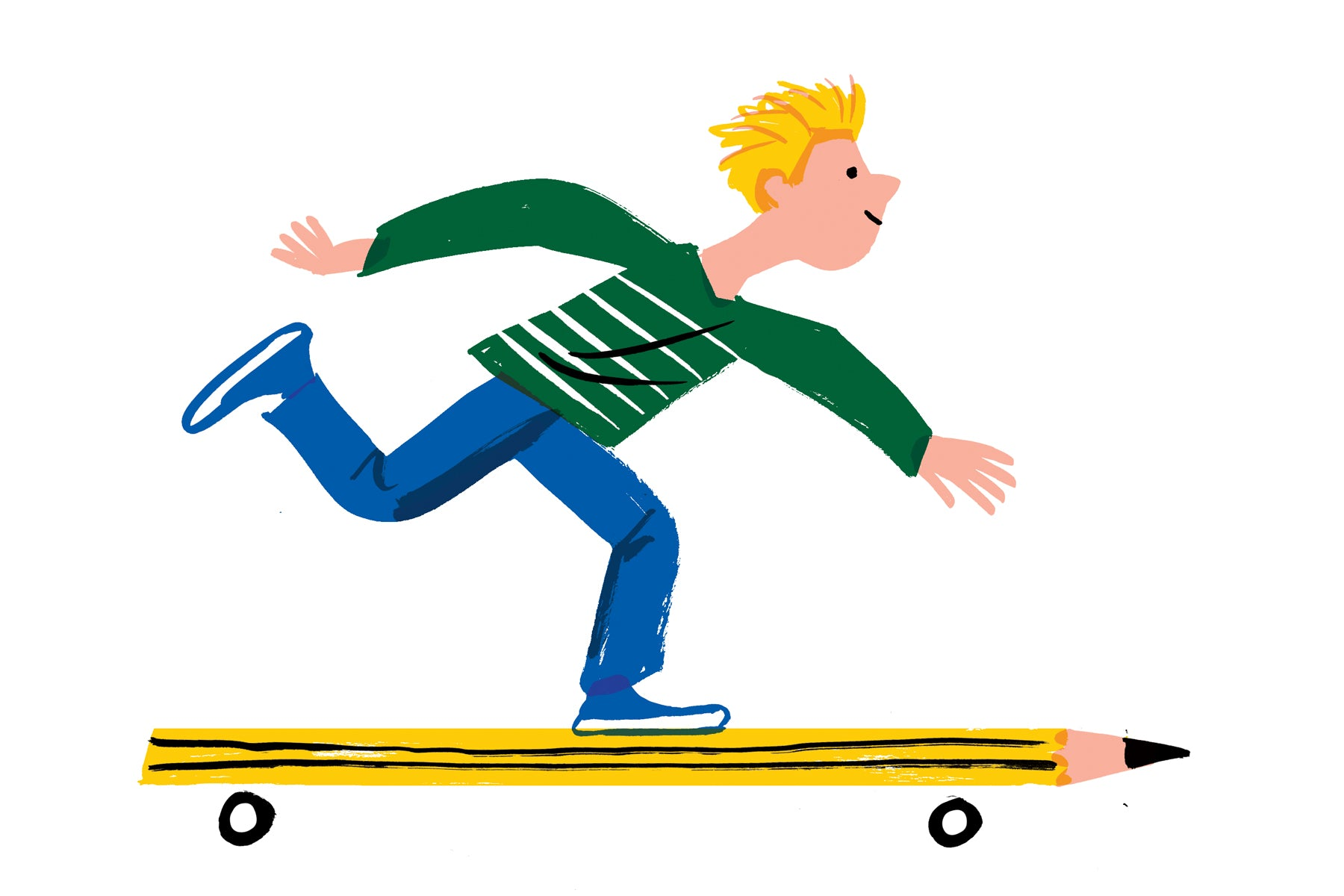 Illustration of a young blonde boy riding a skateboard but the skateboard is actually a pencil. This is a metaphor for how I got started.