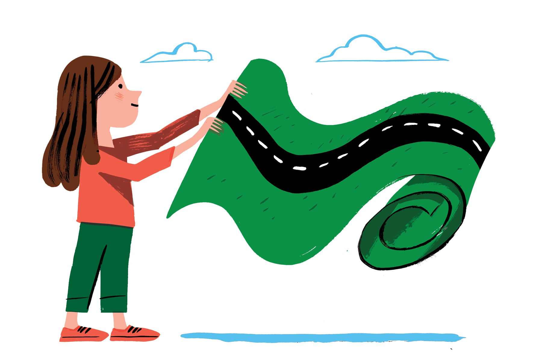 Illustration of a young girl rolling out a carpet that is a winding road.