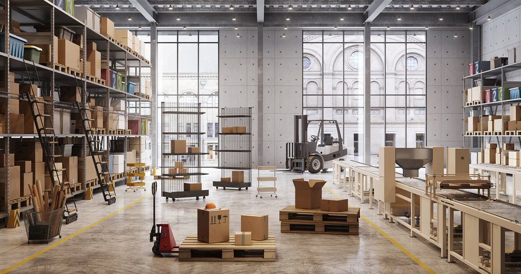 Interior of a factory warehouse
