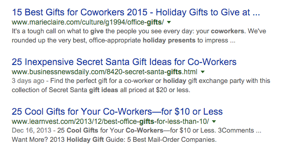 Gift idea search results screenshot