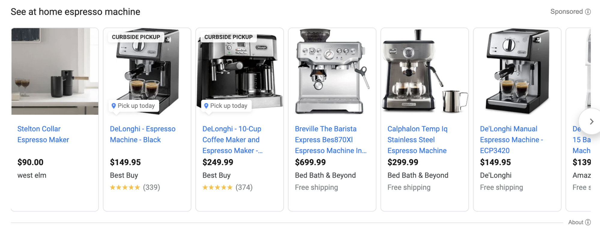 Example of how product titles appear in Shopping Ads in Google