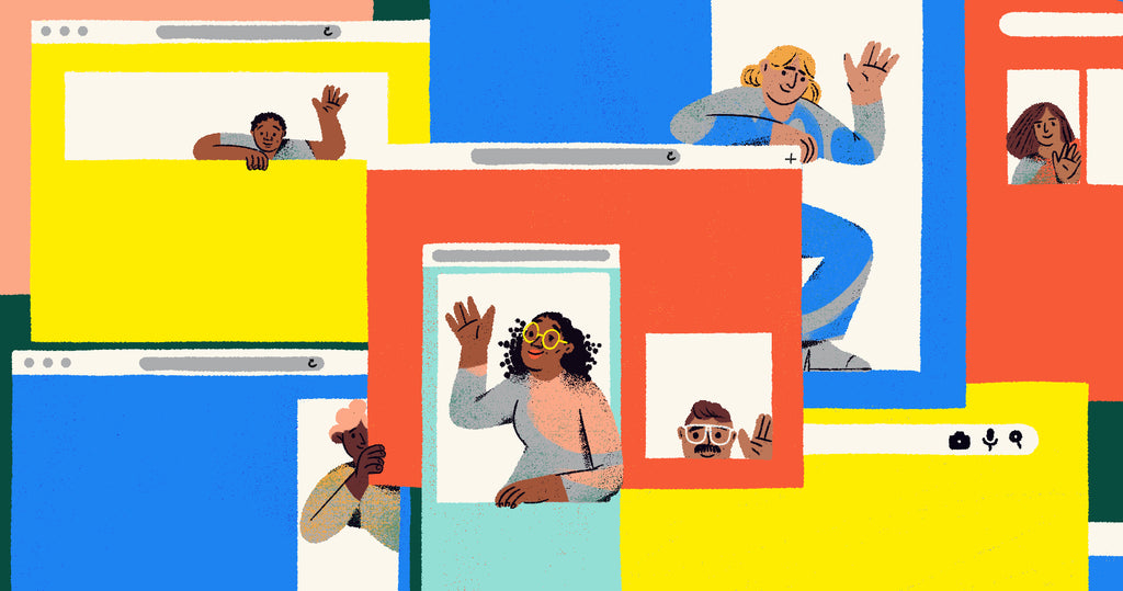 Illustration of a group of screens with google ads cut out. Inside the ads are people. This is a metaphor for understanding google advertising and the audiences that businesses can target.