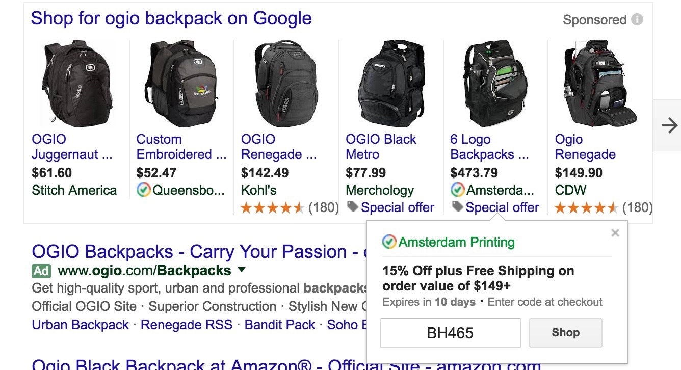 Screenshot of Google Shopping Ads promotion for backpacks