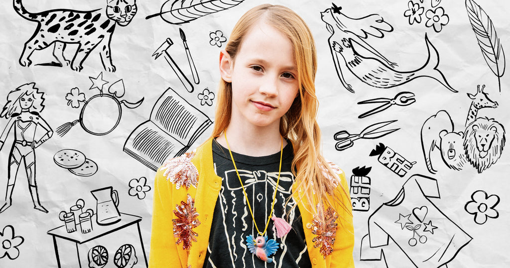 Portrait of 9 year old founder Riley Kinnane-Petersen of the jewellery and apparel line Gunner and Lux. Surrounding Riley are illustrations that reflect her business, her hobbies, and her inspiration.
