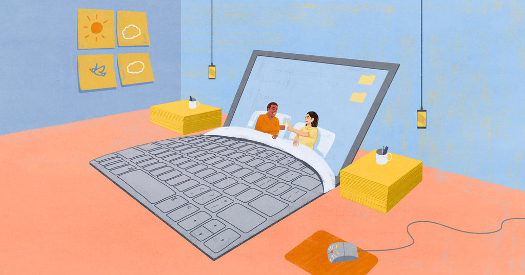 Illustration of a couple in a bed, that is actually a laptop, the screen is the headboard and the key pad is the bed and blanket. They are toasting a glass of champagne. The side tables are post-it note pads, the lights are hanging iphones and there are post-it note artworks on the walls. This is a metaphor for couples who are life and business partners.