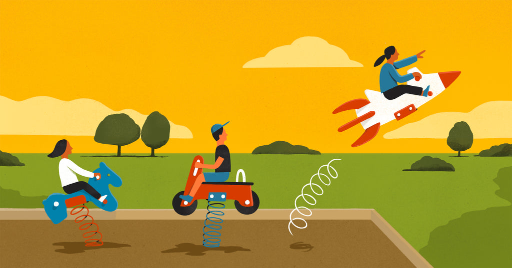 Illustration of children riding playground toys. A kid riding a rocket ship toy blasts into the air.