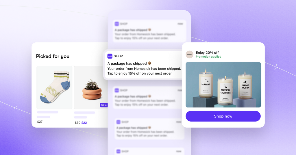 An image showing socks, and image showing notifications, and an image showing an offer on candles