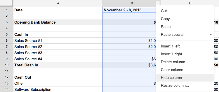 How to hide column in Google Sheets
