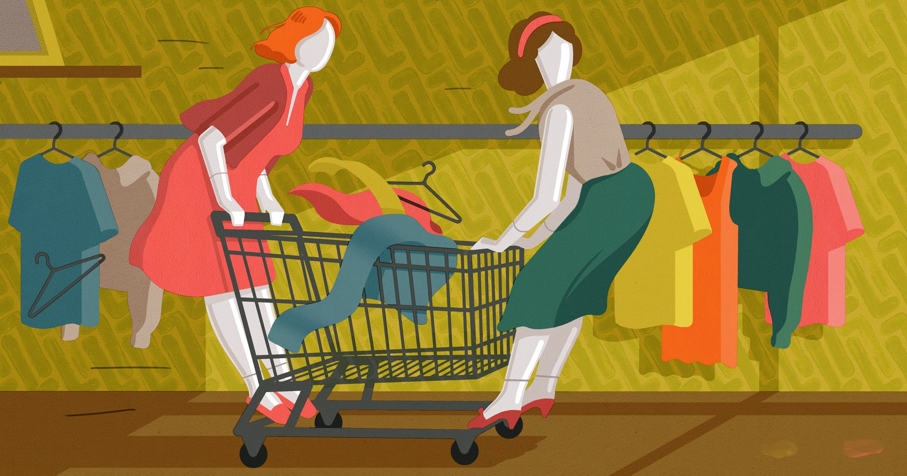 Illustration of two mannequins wearing vintage clothing taking a shopping cart for a ride