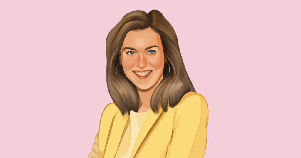 Portrait illustration of Heather Acerra, the founder of toy company Lux Blox, wearing a yellow blazer against a pink background.