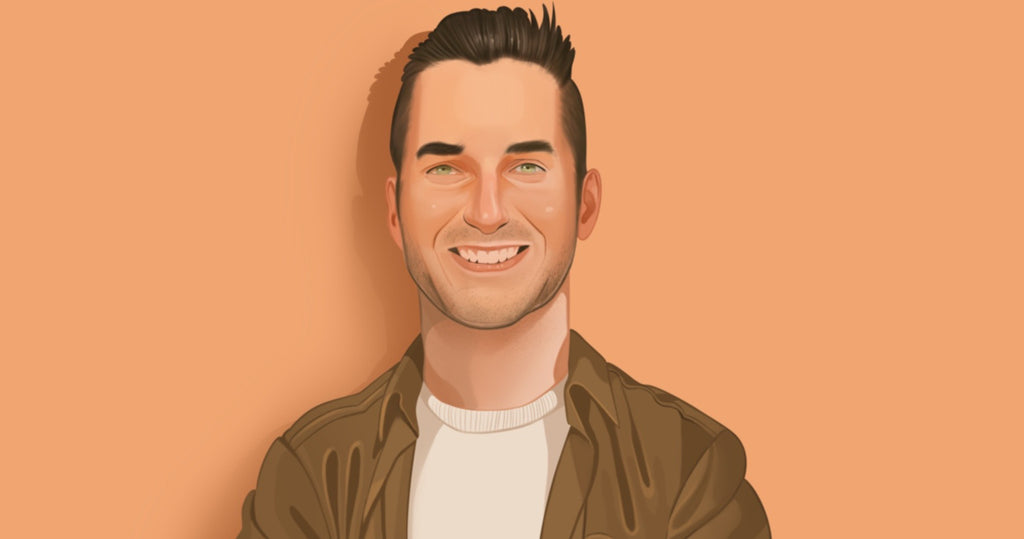 Portrait illustration of Chase Fisher, founder of Blenders Eyewear, standing against a pale orange background, wearing a brown jacket opened up with a tan t shirt underneath.