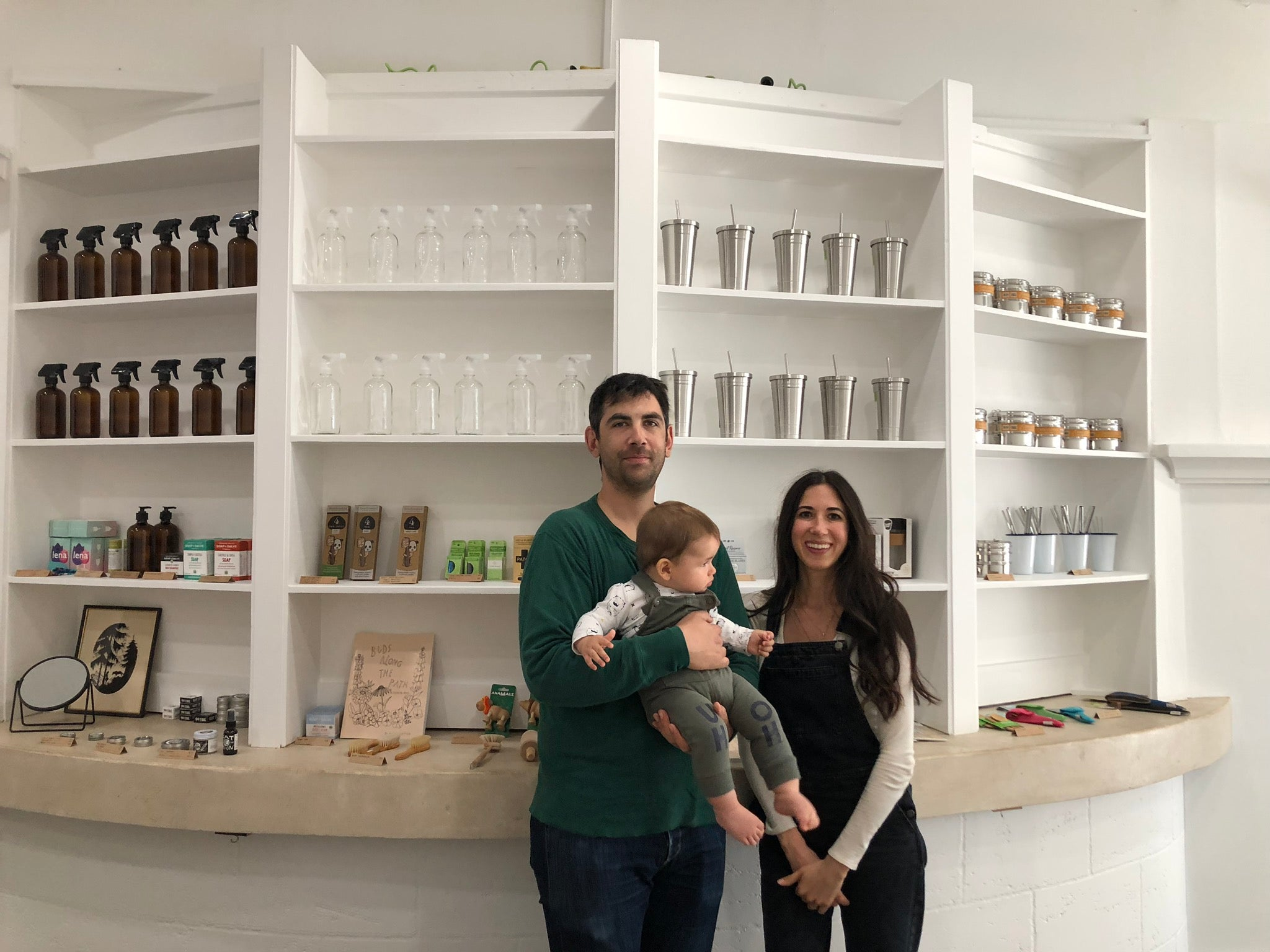 Owners of Wild Minimalist Max and Lily Cameron in their store located in San Anselmo, California with their son Grant.