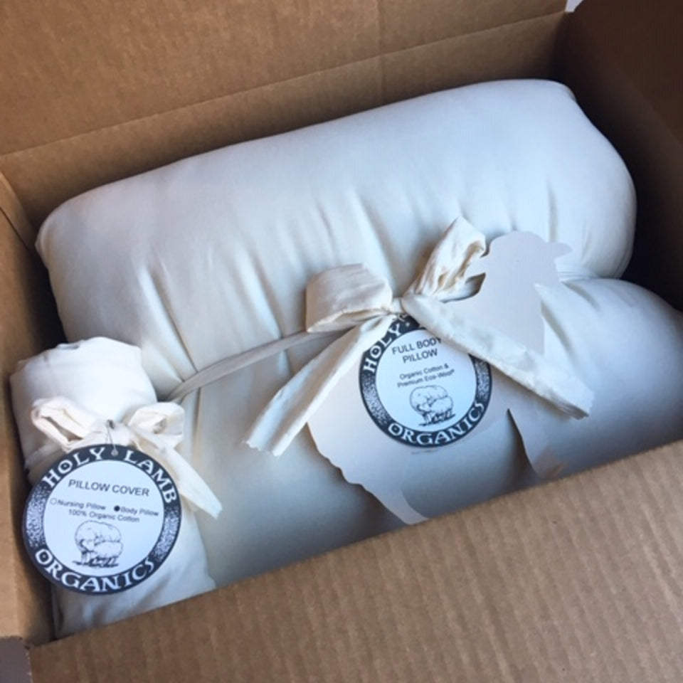 Pillow and pillowcase by Holy lamb Organics.