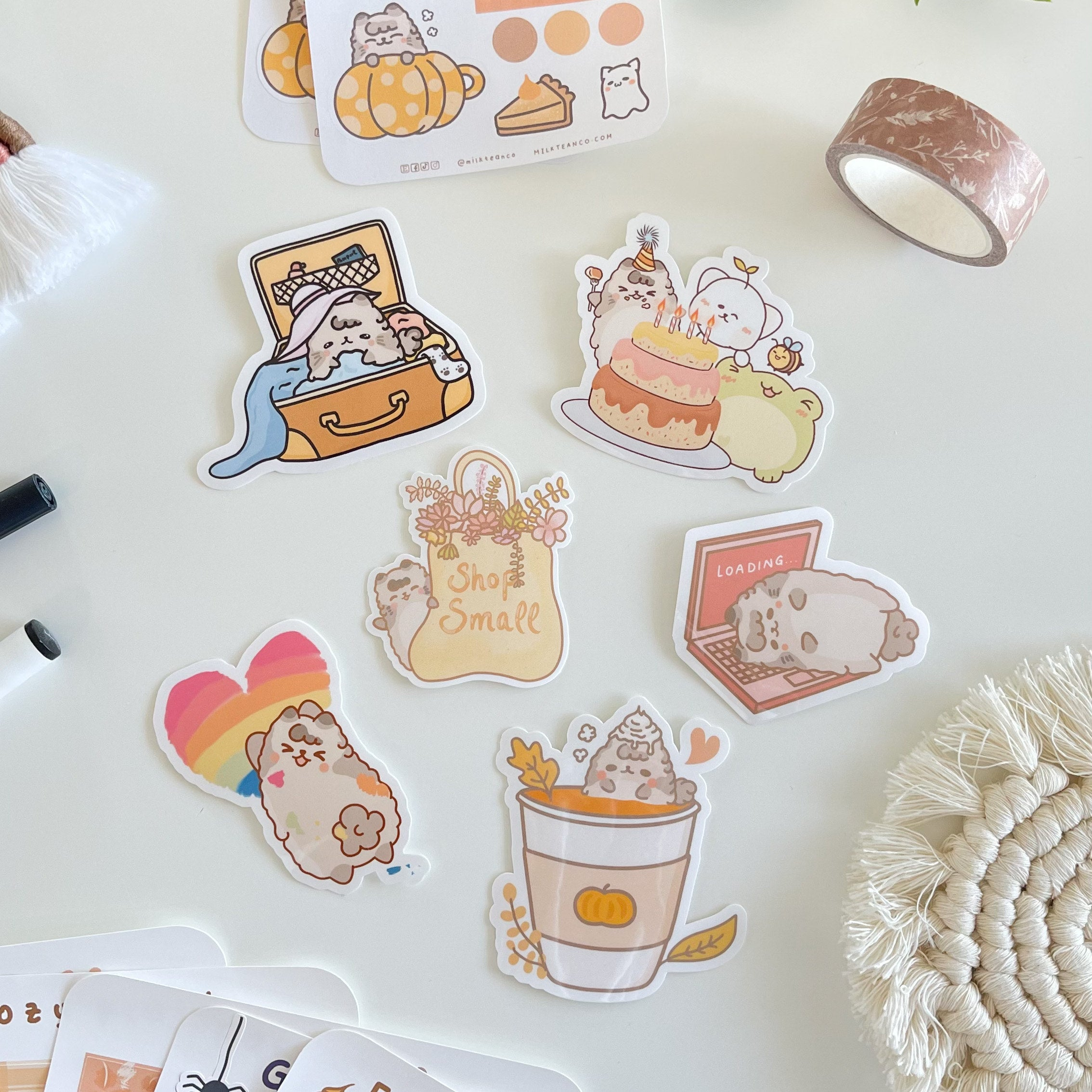 A sticker sheet of cute illustrated cats