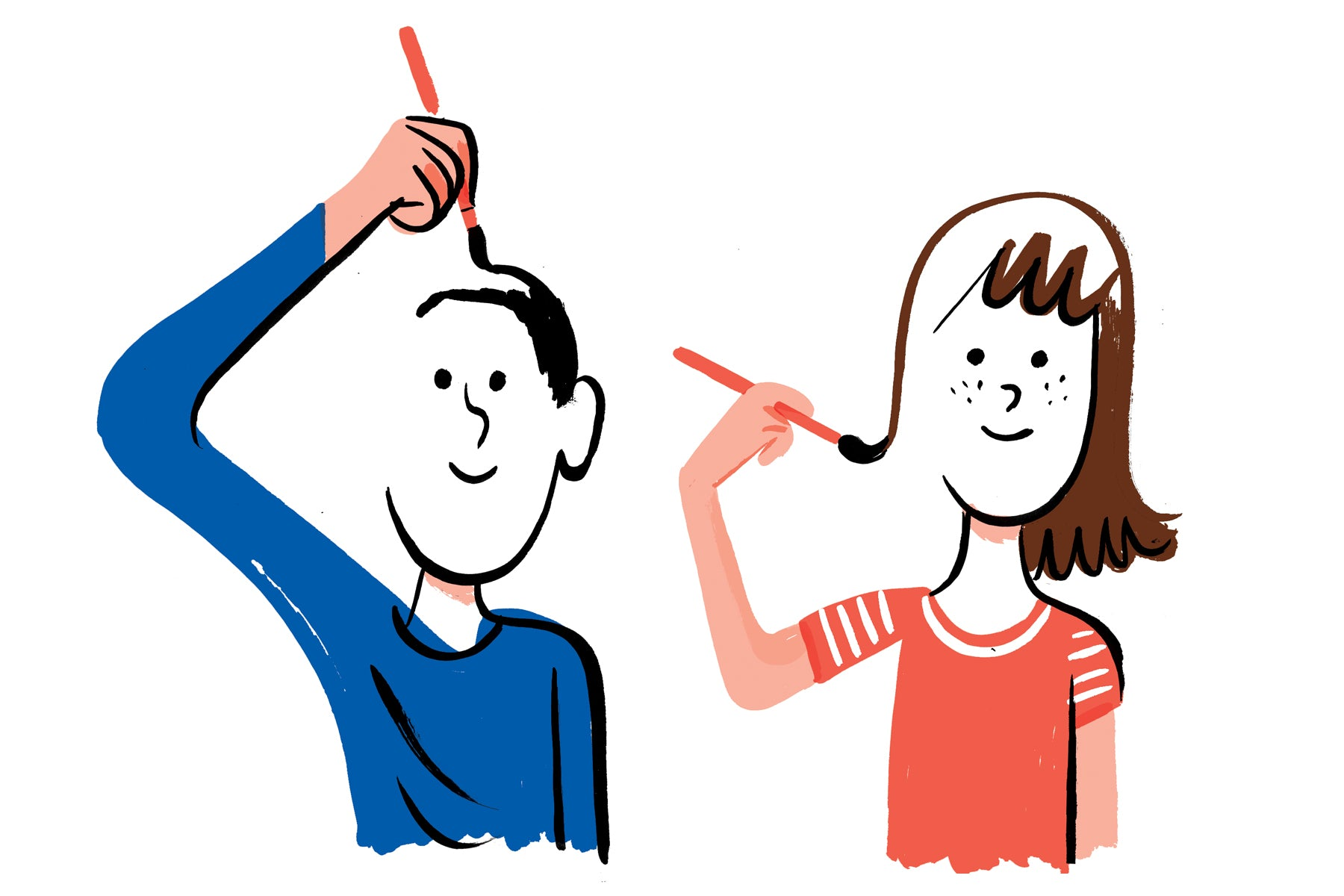 Illustration of a young boy with a blue shirt on and a young girl with a red shirt on drawing their own faces so half of their face is incomplete as they paint in the details themselves. This is a metaphor for introducing themselves.