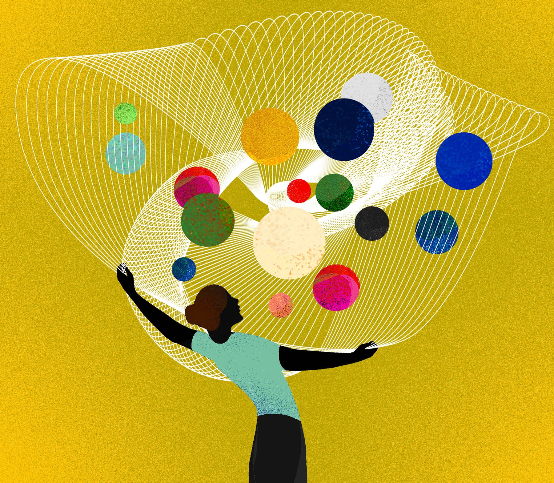 A person juggles multiple colored shapes, representing diversification of platforms and monetization for the creator economy