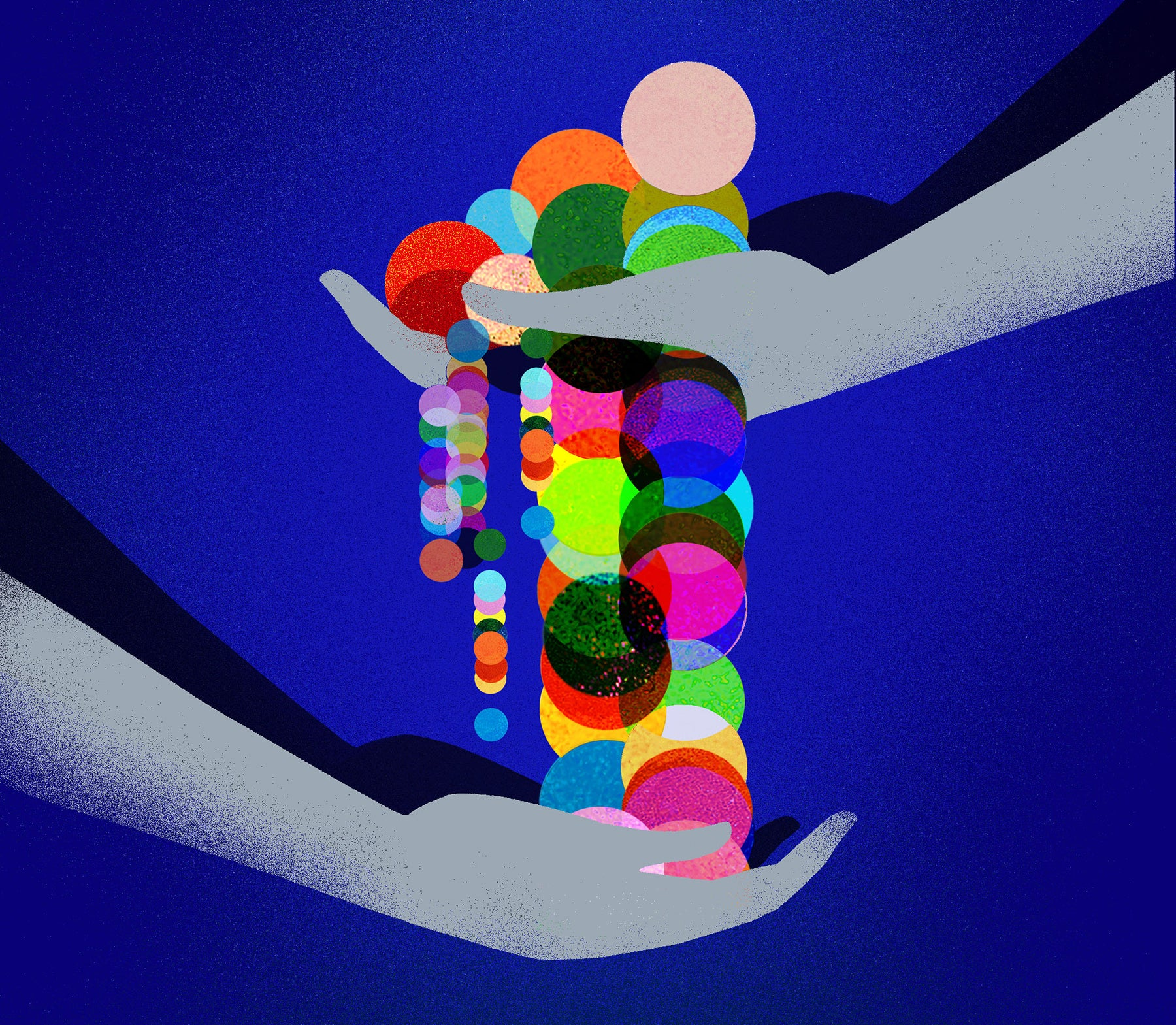 An illustration of two hands holding multiple colored shapes, indicating ownership in the creator economy