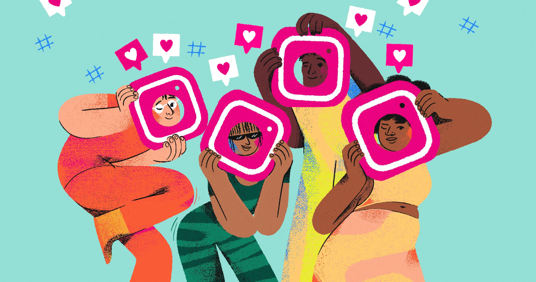 Illustration of four characters looking through the Instagram logo with hashtags and hearts surrounding them. This is a metaphor for gaining new followers.