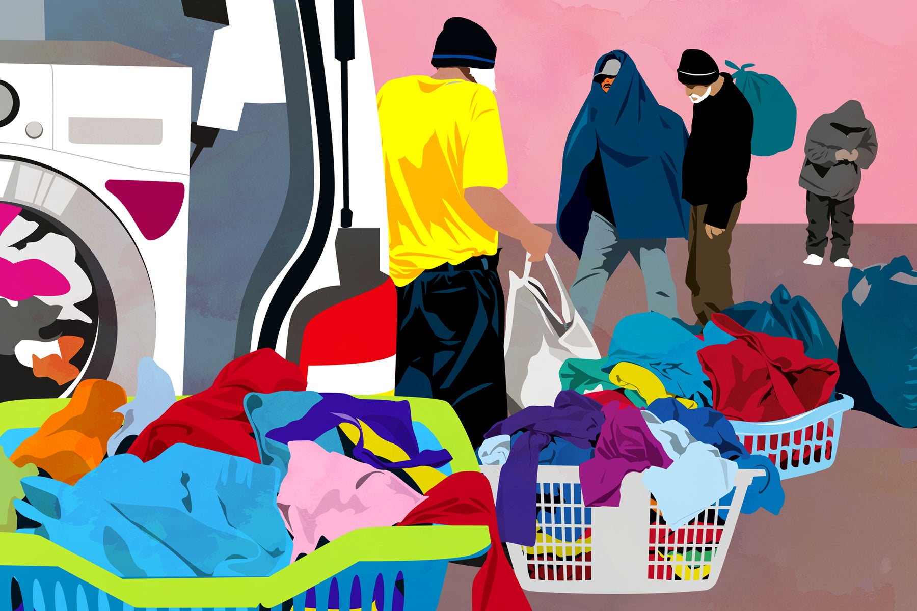 Illustration of homeless men with overflowing baskets of laundry next to the Ithaca Laundry van.