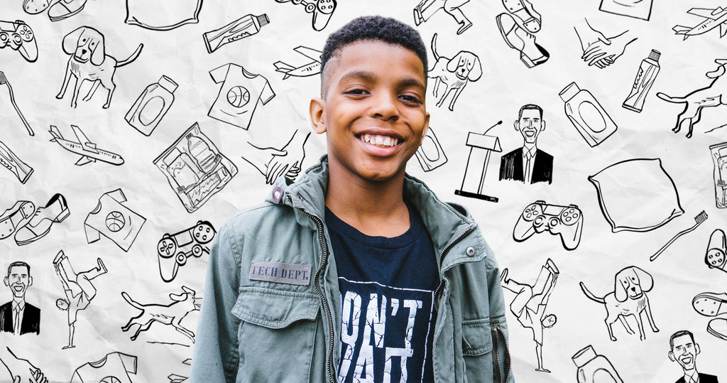 Portrait of 12 year old Founder Jahkil Jackson. Surrounding Jahkil are drawings of things that inspire him, activities, and items that he distributes to help the homeless.