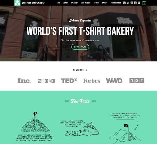 Johnny cupcakes landing page