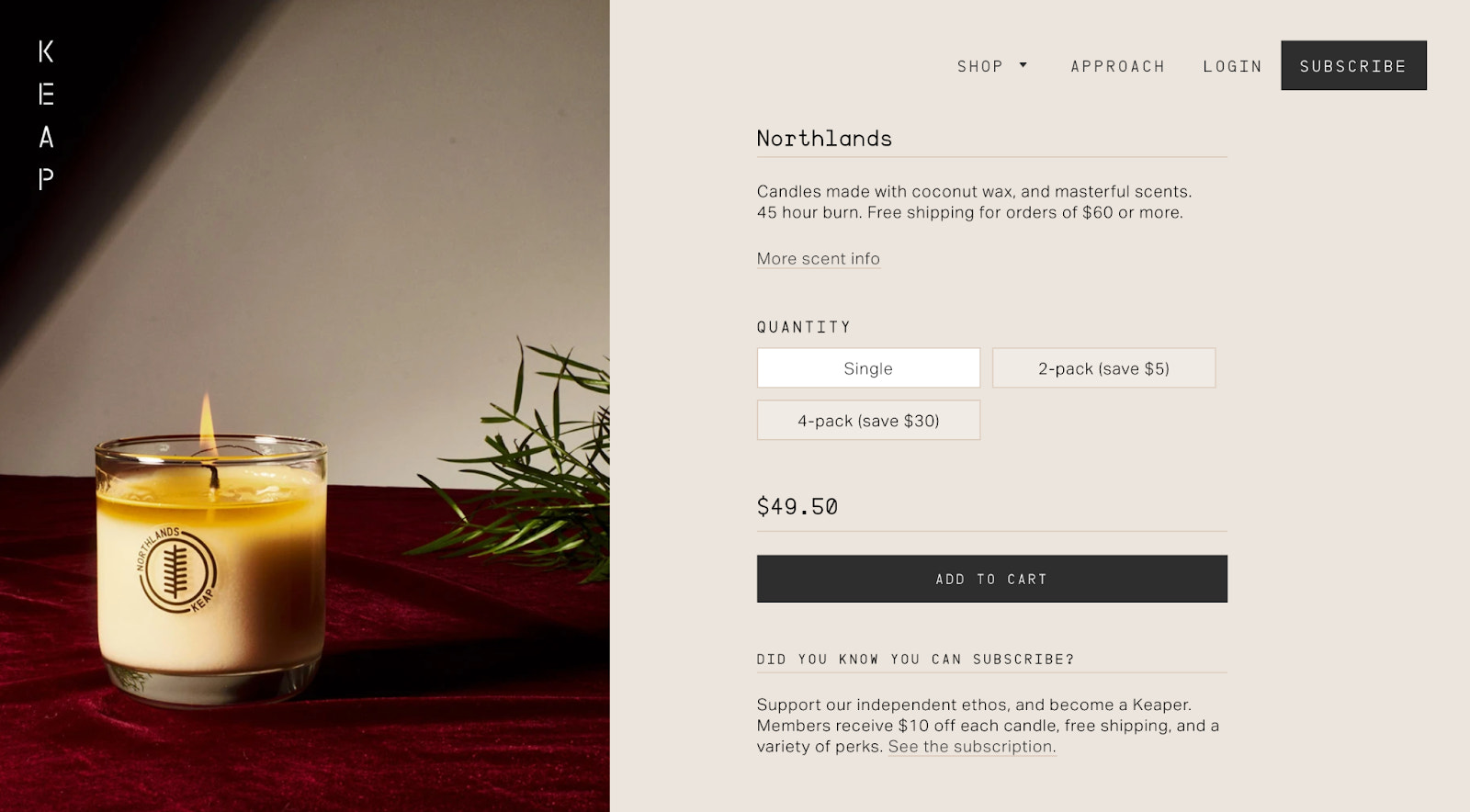 Online candle store example: KEAP Candles