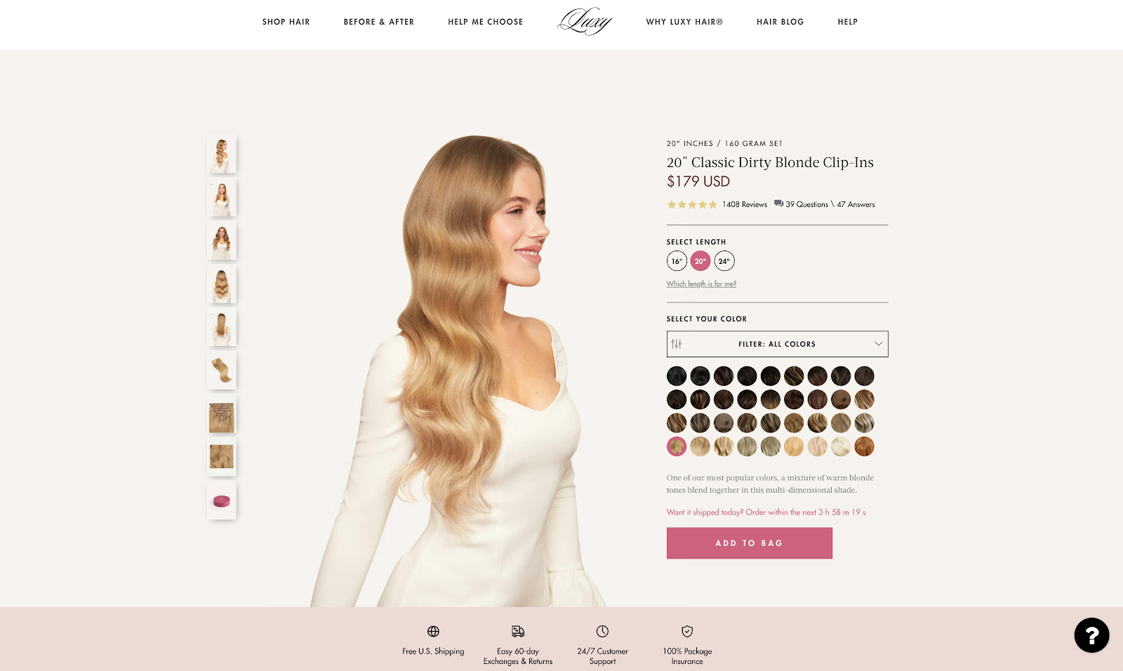 Luxy hair product page example