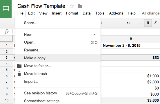 screenshot of making a spreadsheet copy