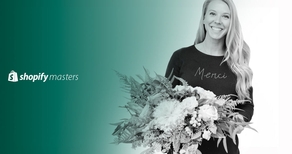 Founder of Bonjour Fete, Rachel Huntington with a bouquet of flowers.